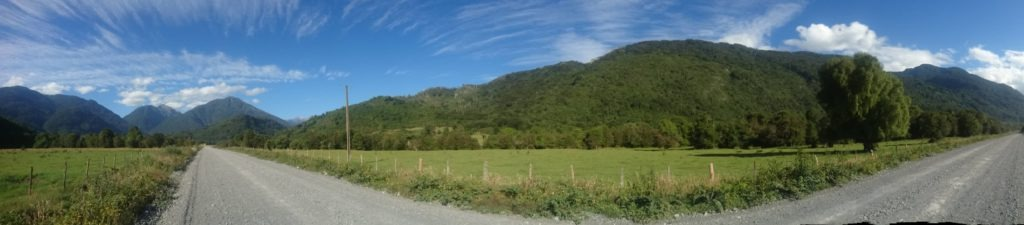 Vue panoramique, route vallée de Cochamo, Chili
