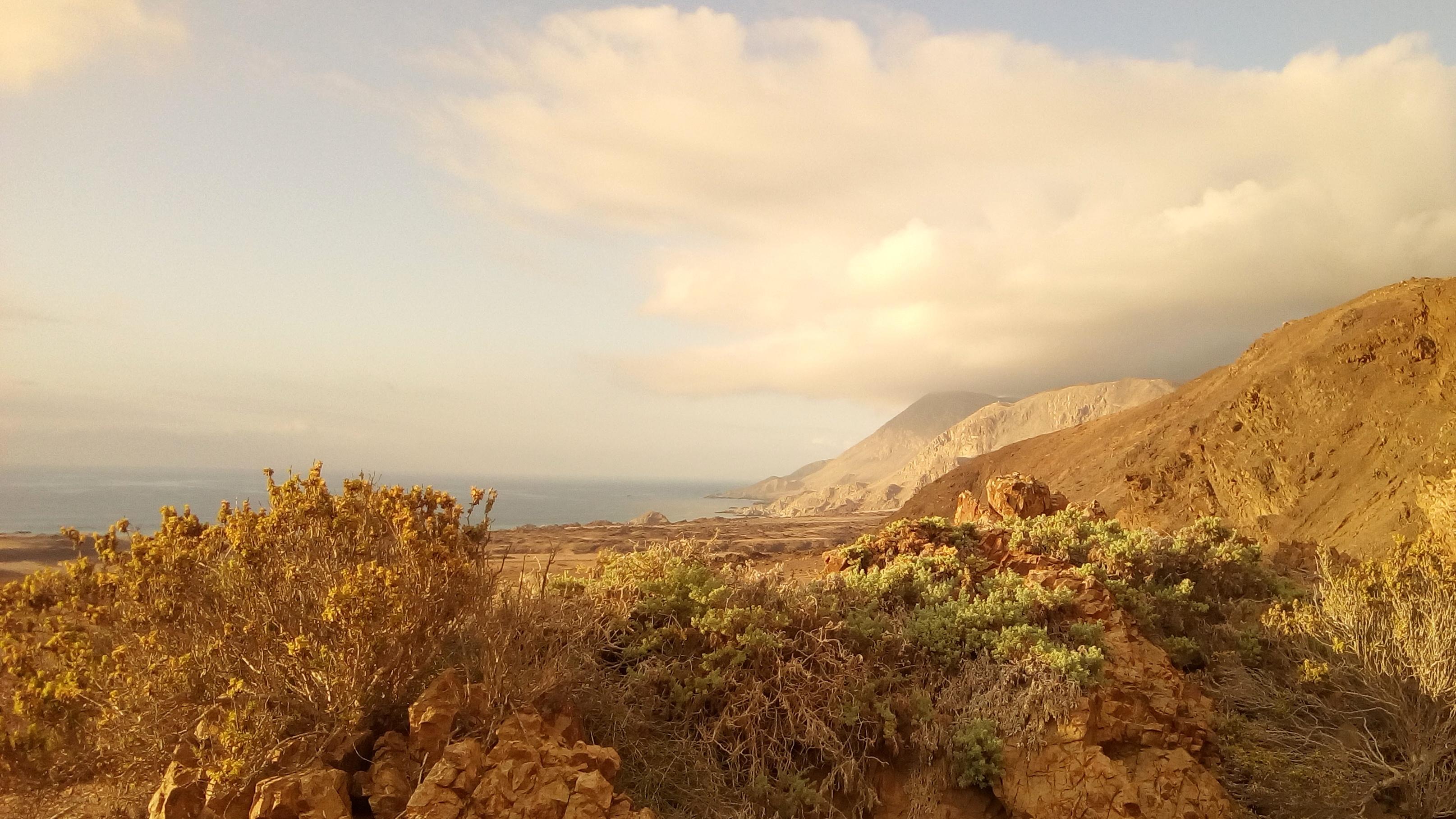 Coucher de soleil sur le parc Pan de Azucar, Chili