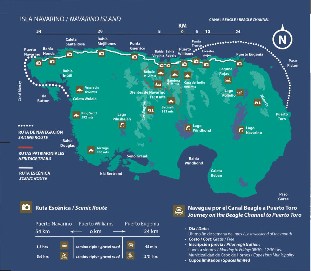Carte ile de Navarino, Puerto Williams, Chili