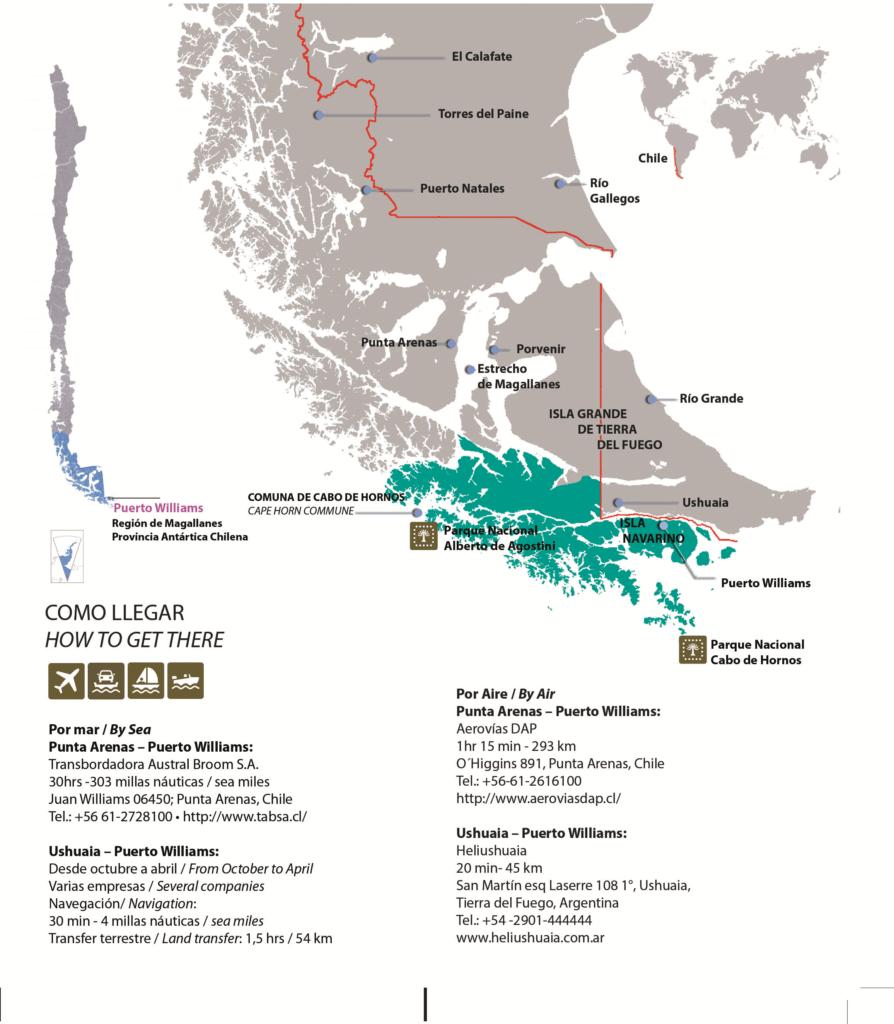Comment aller à Puerto Williams, carte, Terre de Feu et Ile Navarino